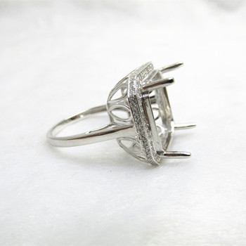 Set Da Sposa Taglio Cuscino | 15x15mm Cushion Cut Solido 14 K Oro Bianco Pieno Di Diamanti Impostazione Anello R444