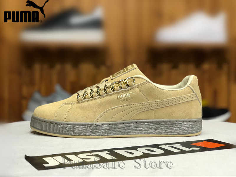 90f03495507 Detail Feedback Questions about Puma Suede Classic X Chain Womens Sneakers  Natural 367391 02 Reed Yellow Metallic Gold Sneakers Men s Badminton Shoes  ...