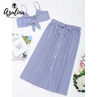AZULINA Tied Cami Top With Striped Skirt Set 2018 Summer Beach Women Sets Casual Spaghetti Straps