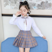 Girls Clothes Sets Summer 2019 Kids Clothing Two-Piece children clothing Blouse Chiffon Bowknot Plaid Skirt 4-13