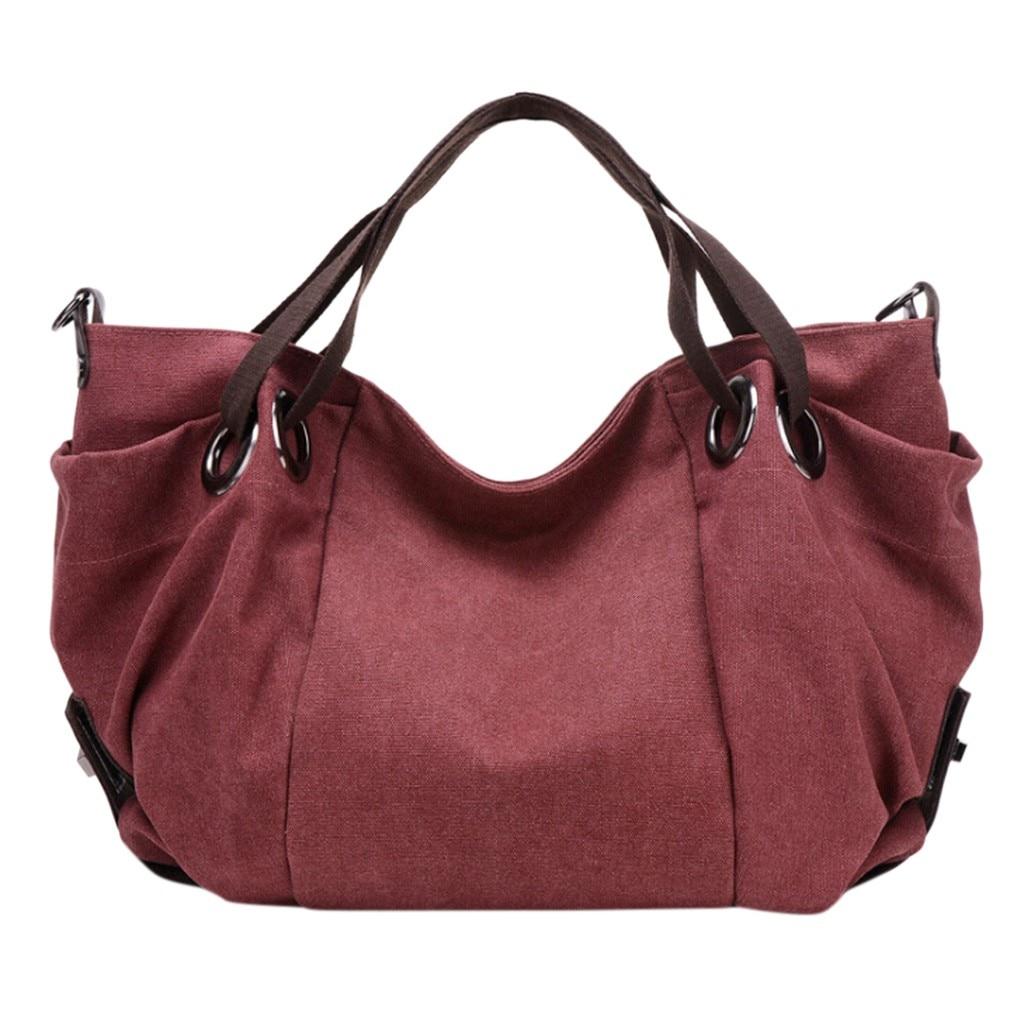 OCARDIAN Shoulder Bag Fashion Vintage Women's Shoulder Soild Color Bag Canvas Tote Lady's High capacity Handbag Purse 25.DEC.17