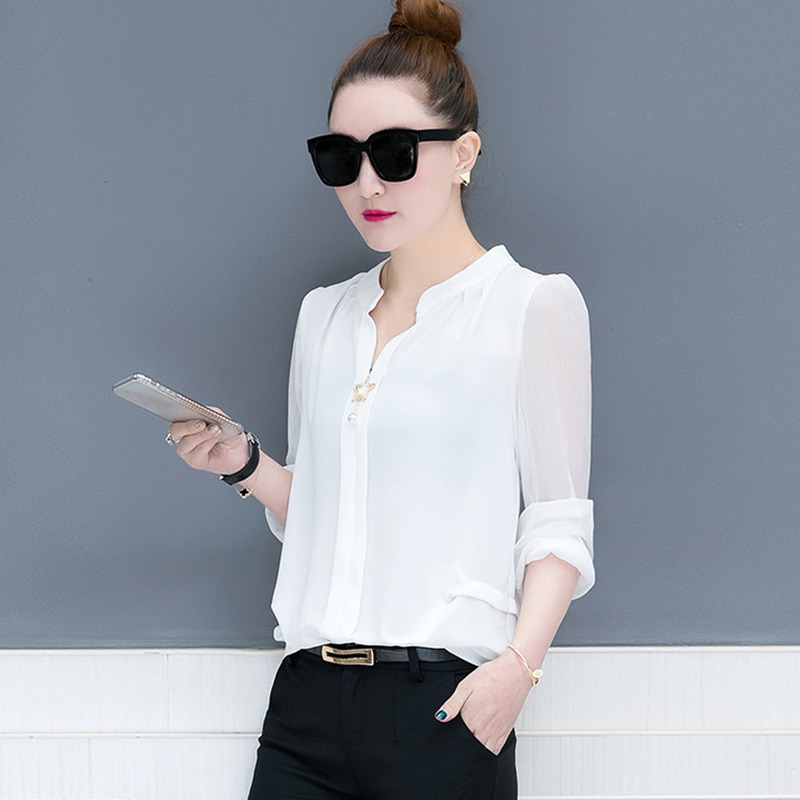 <font><b>2018</b></font> Autumn Long Sleeve Chiffon Shirt Women <font><b>Sexy</b></font> V Neck <font><b>star</b></font> Decor and pearl Blouse and Tops Solid Office <font><b>Lady</b></font> shirts OL Style image