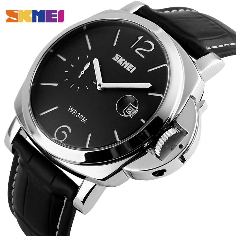 SKMEI Mode Hommes Quartz Montre D'affaires Classique Montres Homme Montres-bracelets En Cuir Véritable Marque De Luxe Mâle Relojes Hombre 1124