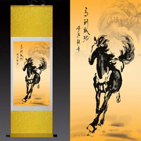 wholesale #2018 Home office WALL art TOP efficacious Protection Talisman FENG SHUI success horse art chinese silk painting