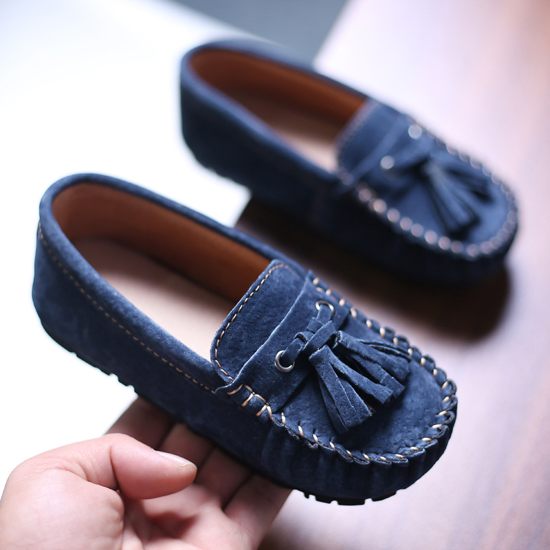 Children Loafers Shoes Boys Sneakers Baby Little Kids Genuine Leather Moccasins Girls Student Casual Slip-on Tassel Flats Shoes