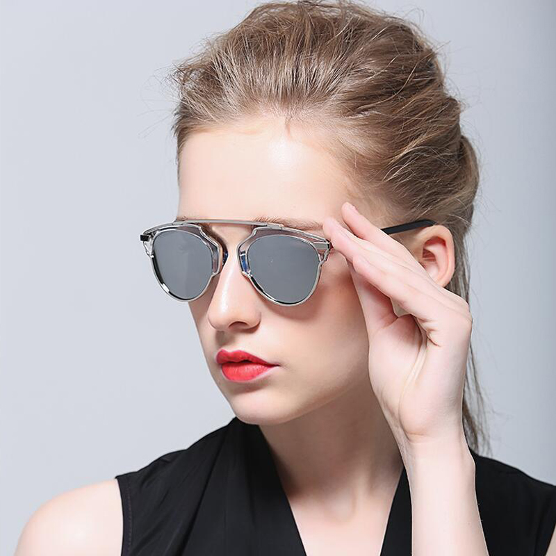 DOKLY Fashion Female Polarized Sunglasses Women Cat Eye Glases Ladies Sun Glasses Mirror cat eye oculos de sol
