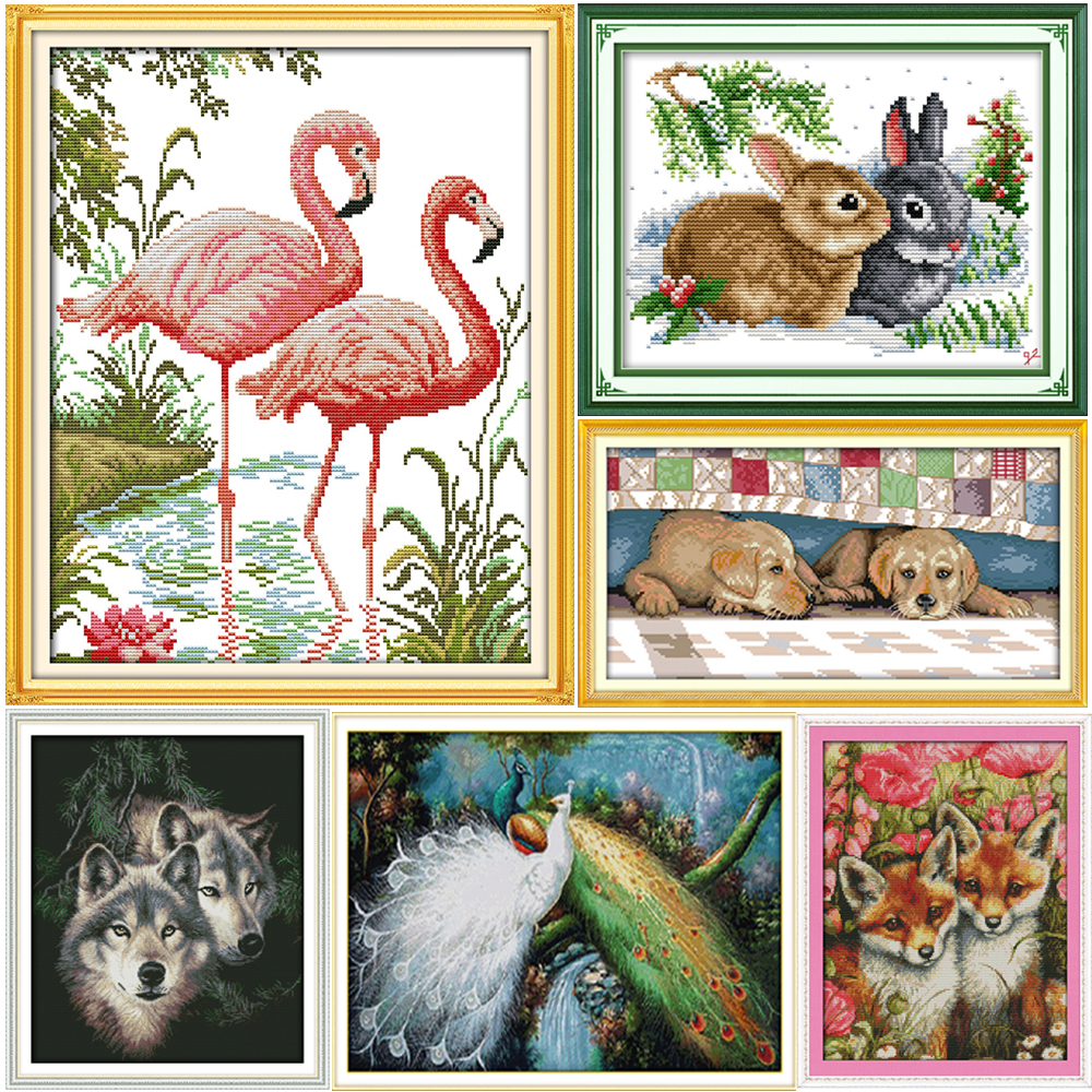 Glädje söndags Cross Stitch Kit Ett par Djur räknade Cross Stitch Pattern Crossstitch Set Broderi Kit DIY Needlework