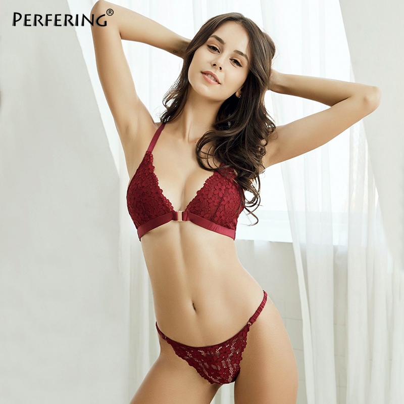 Perfering Sexy   Bra     Set   Front Closure   Bra   and Panty For Women Underwear Bralette Female Wire Free Deep V Lace Lingerie UltraThin
