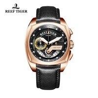 Риф Тигр/RT лучший бренд класса люкс спортивные часы Для мужчин Водонепроницаемый модельер мужской часы из розового золота квадратное часы