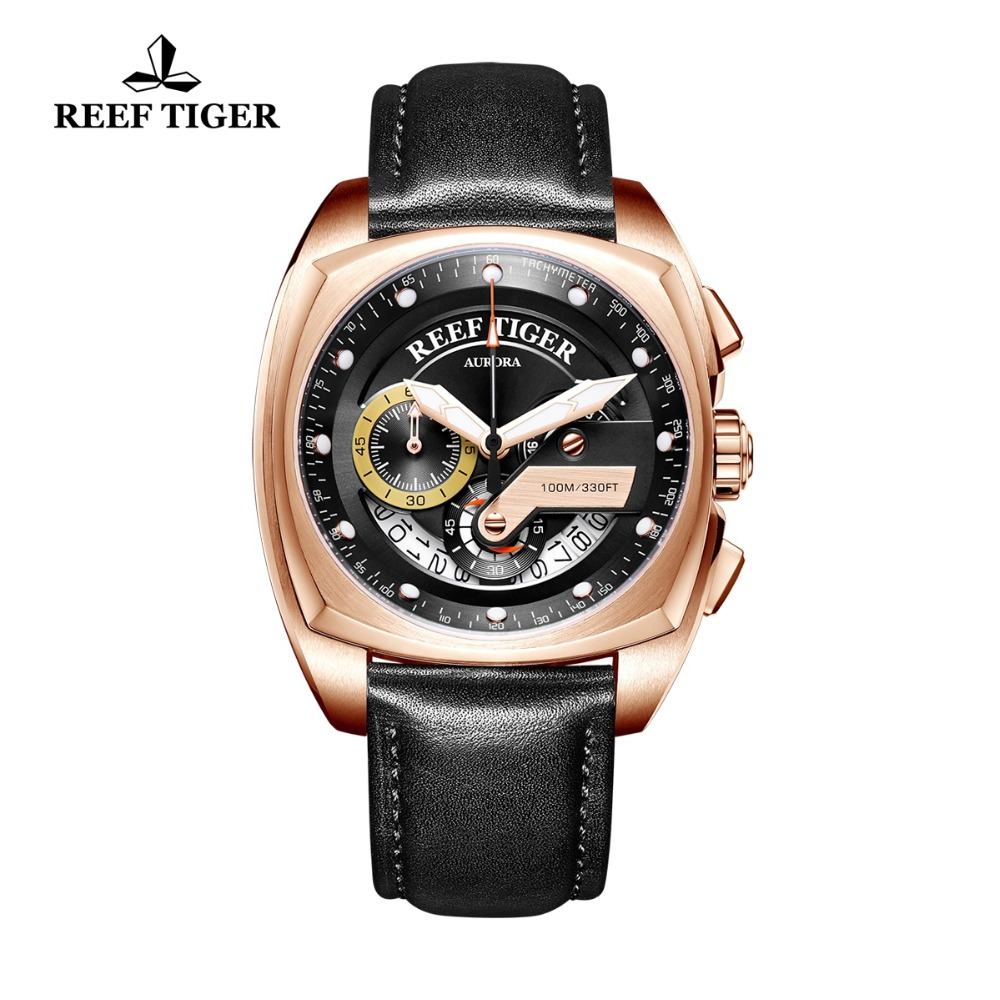 Reef Tiger/RT Top Brand Luxury Sport Watch Men Waterproof Fashion Designer Male Watch Rose Gold Square Watches Relogio RGA3363