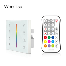цена на DMX512 Controller RGBW 4ch Zone 2.4G RF Remote Control AC 220V 230V 110V Wall Mounted Touch Panel DMX 512 Decoder LED Controller