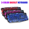3 color backlit gaming keyboard switchable computer laptop USB wired backlight led gamer keyboard crackle design