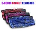3 colores retroiluminada teclado para juegos conmutable portátil USB con cable de retroiluminación led teclado gamer crackle diseño