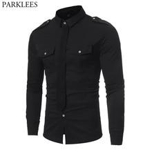 Chemise noire à Double poche, Style militaire, Chemise sociale pour hommes, Chemise cintrée à manches longues, couleur contrastée, 2018