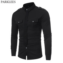 Double Pocket Military Style Black Shirt Men 2018 Casual Contrast Color Fake Tie Social Shirt Male Slim Fit Long Sleeve Chemise