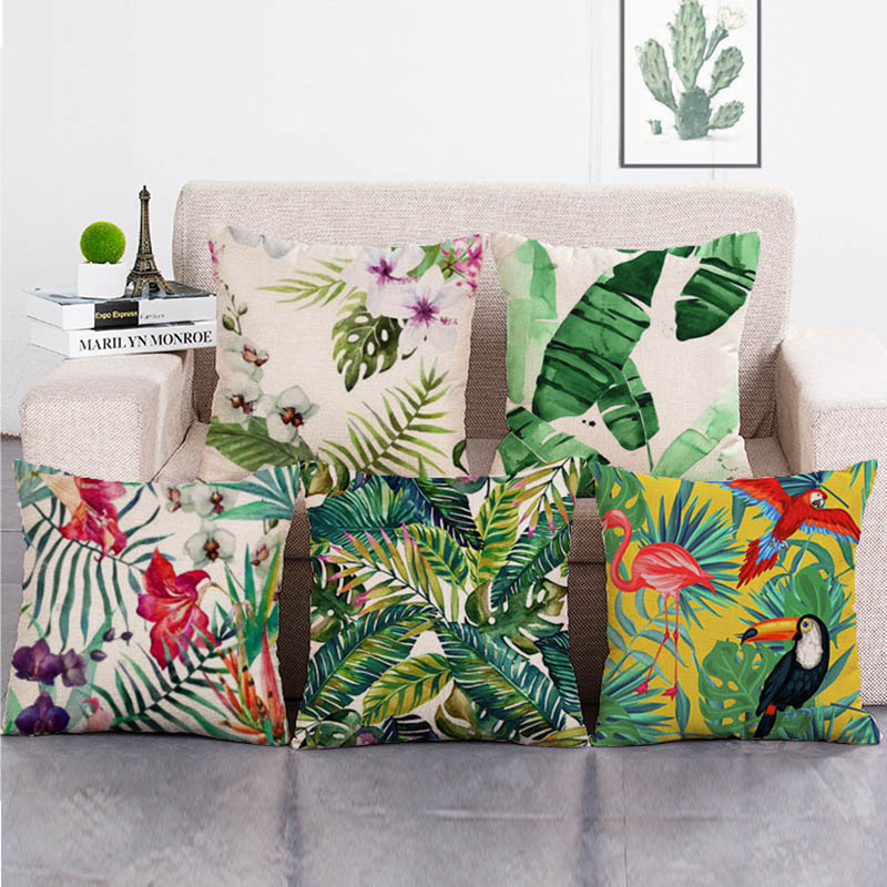 Nordic Tropical plants Leaves Pillowcase Large Pillowcases Linen ...