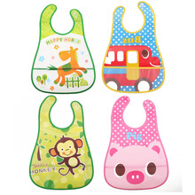 Cartoon Animal Print Baby Bibs Baby Boys Girls EVA Waterproof Saliva Towel Infant Feeding Burp Clothes