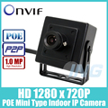 POE Мини Тип HD 1280x720 P 1.0MP Крытый Ip-камера Камеры Металл Безопасности ONVIF P2P CCTV Камеры (бесплатная доставка)
