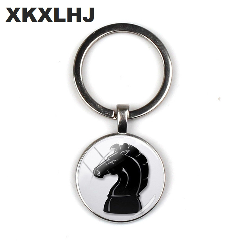 XKXLHJ International Chess Keychains Checkerboard Chess Pieces Glass Dome Pendant Bag Car Key Chain Ring Chess Lovers Gift