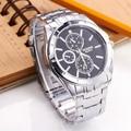 New Fashion Round Blck Dial Quartz Watch Silver Men Casual Dress Watch Business Hour Luxury round dial wristwatch hot selling