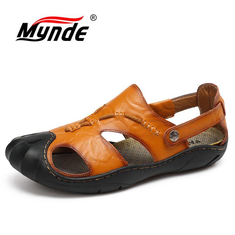MYNDE Cow Split Leather Men Sandals waterproof Summer Flats Shoes Handmade Breathable Casual Men shoes Slip On Walking Sandals