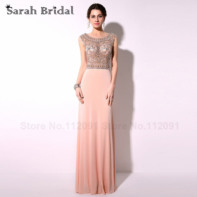 2017 Straight A Line Beading Crystal   Evening     Dresses   Prom Gowns Blush Chiffon Customized TZ015