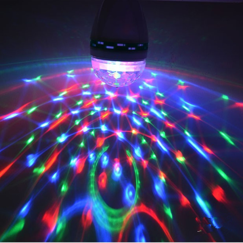 Led RGB Mini Stage Light E27 AC 85-265V Magic Crystal Ball Lamp 3W Laser Light 220V 110V Christmas Dance Party Lantern Projector