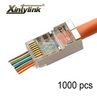 xintylink 1000pcs ez rj45 connector RJ 45 plug cat5e cat6 network conector 8P8C stp shielded cat 6 cat5 ethernet cable jack 8pin