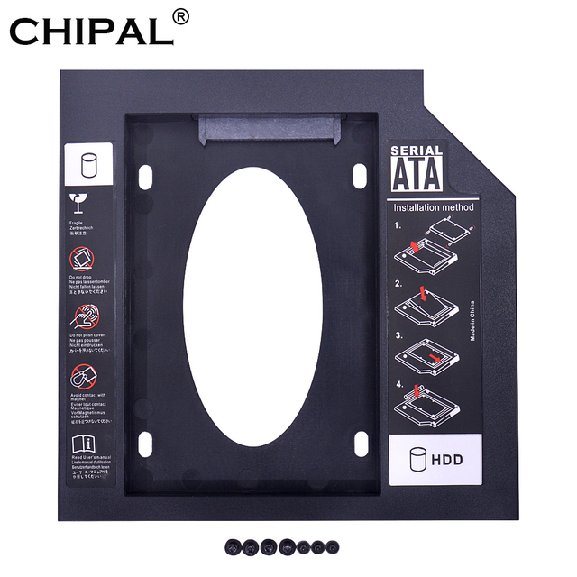 CHIPAL Nhựa 2nd Thứ Hai HDD 9.5mm SATA 3.0 Optibay 2.5 ''SSD 2TB DVD Trình Điều Khiển Đĩa Cứng CD-ROM Adapter Ốp Lưng Kèm Hộp