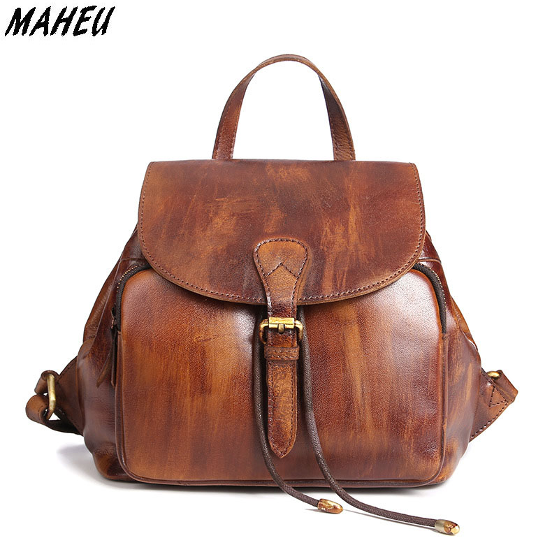 Vintage Genuine Leather Woman Backpack First Layer Oil Wax Cowhide Girl Schoolbag Casual Travel Bags mini female Backpack