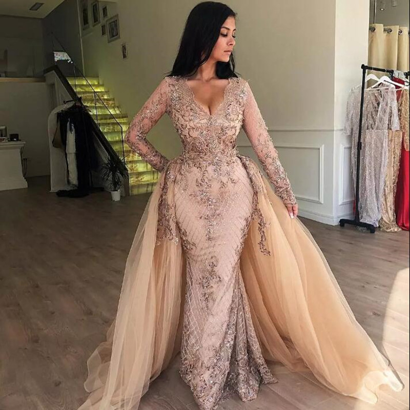 Champagne Sequined Lace 2 Pieces Prom Gowns With Detachable Train Modest Full Sleeves Evening Gowns Elegant