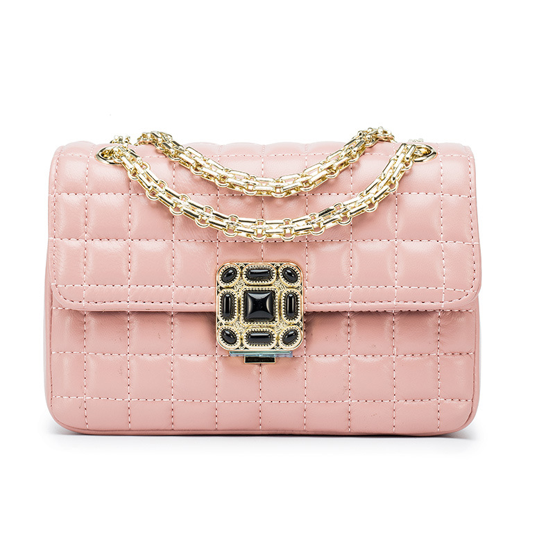 P184 Wholesale fashion diamond Chain Handbag Lady Plum Lock Bag Leather Sheepskin Satchel Mini Shoulder Bag