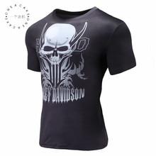 2017 New Mens short sleeve 3D t shirt Man O neck t Skull Harley print Ghost Rider Europe Size Summer Tees S-4XL
