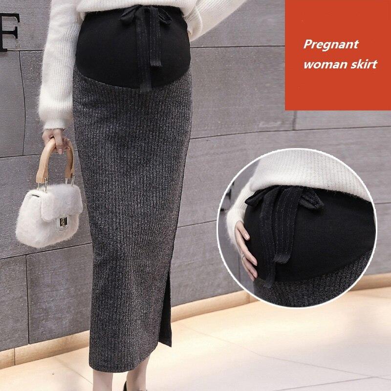 2019 robe de maternité automne et hiver Version coréenne de la jupe en tricot fendu jupe hanche jupe pleine grossesse marée maman jupe