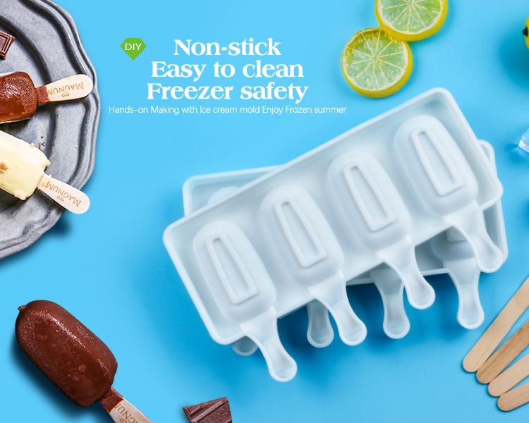 4 Cell Big Size Silicone Ice Cream Mold Popsicle Molds DIY Homemade Dessert Freezer Fruit Juice Ice Pop Maker Mould with Sticks 6