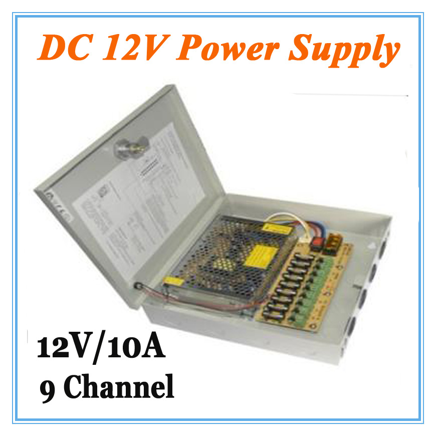 DC12V 10A 9 Channel Power Supply Adapter for CCTV Camera CCTV System 12V Security professional Converter Adapter dc 12v 5a ac adapter cctv power supply adapter box 1 to 8 port for the cctv surveillance camera system abs plastic