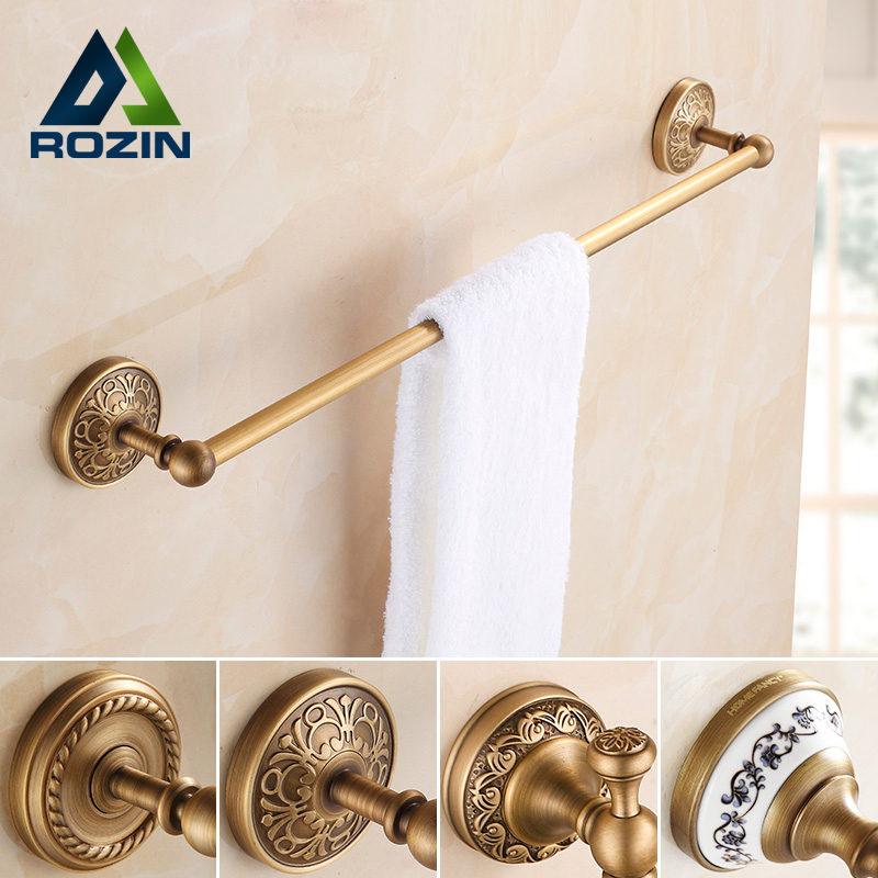Brass Antique Single Towel Bars Bathroom Wall Mounted Towel Rod Holder Wholesale and Retail Bathroom Accessory цены