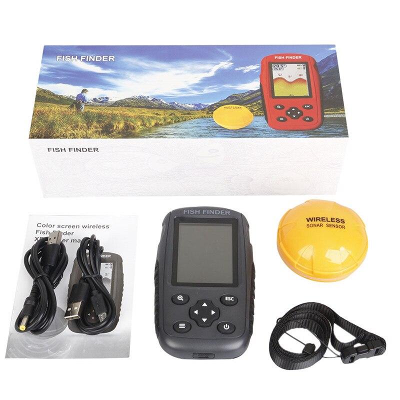 FF998 détecteur de poisson mise à niveau menu russe Rechargeable étanche sans fil détecteur de poisson 125 KHz Sonar écho sondeur