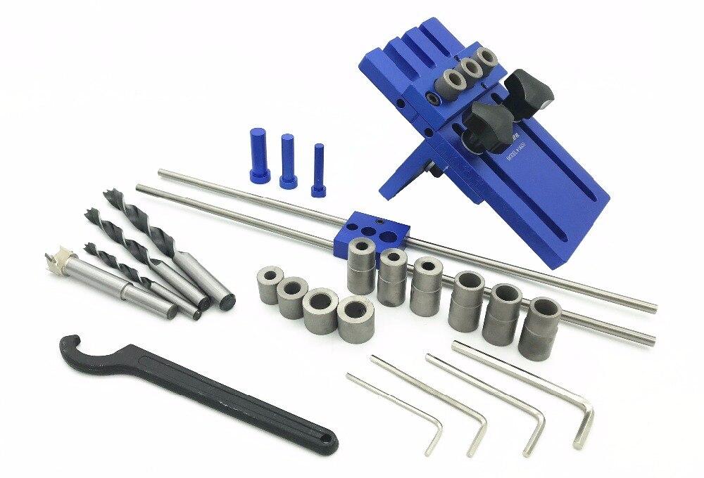 Milda Holzbearbeitung werkzeug 3 in 1 Bohren locator bohren guide kit DIY Holzbearbeitung Tischlerei Hohe Präzision Dübel Jigs Kit-in Handwerkzeug-Sets aus Werkzeug bei