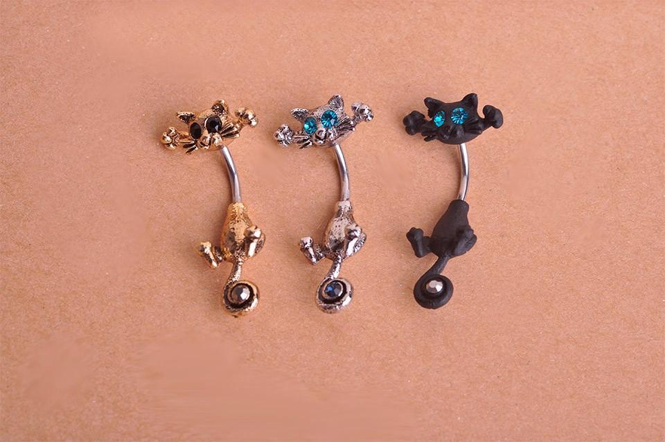 HTB1NwxyIpXXXXbwaXXXq6xXFXXXt Bejeweled Cat Body Piercing Belly Button Ring Jewelry - 3 Colors