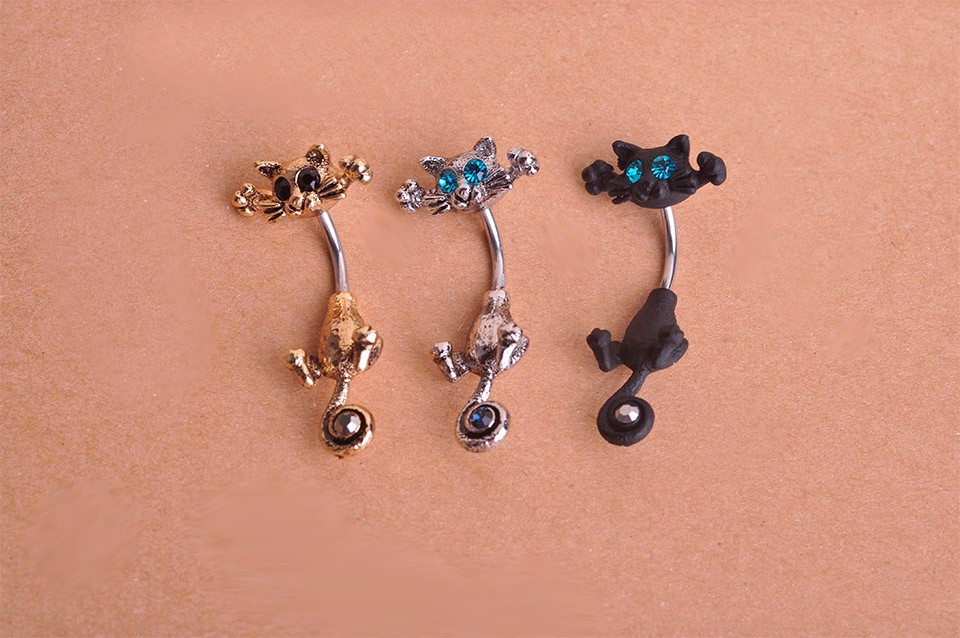 HTB1NwxyIpXXXXbwaXXXq6xXFXXXt Bejeweled Cat Body Piercing Belly Button Ring Jewelry - 3 Colors