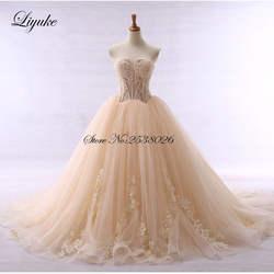 Контрастный цвет Элегантный без бретелек A-Line свадебное платье цвета шампань Cohapel поезд индивидуального исполнения невесты robe de mariage