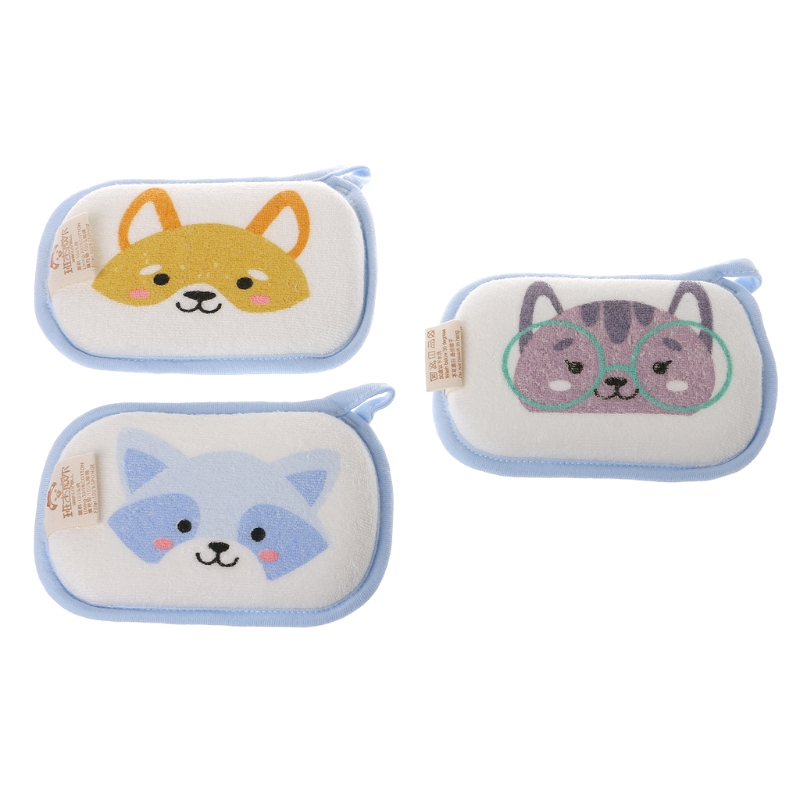 Cartoon Style Newborn Baby Bath Brushes Infant Shower Sponge Cotton Rubbing Body Wash Towel Soft