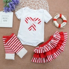 Newborn Baby Girl Clothes 0-4Y Baby Girl Striped Short Sleeve Top And Skirt And Pants Kit Kids Cotton Three-piece Outfit Set