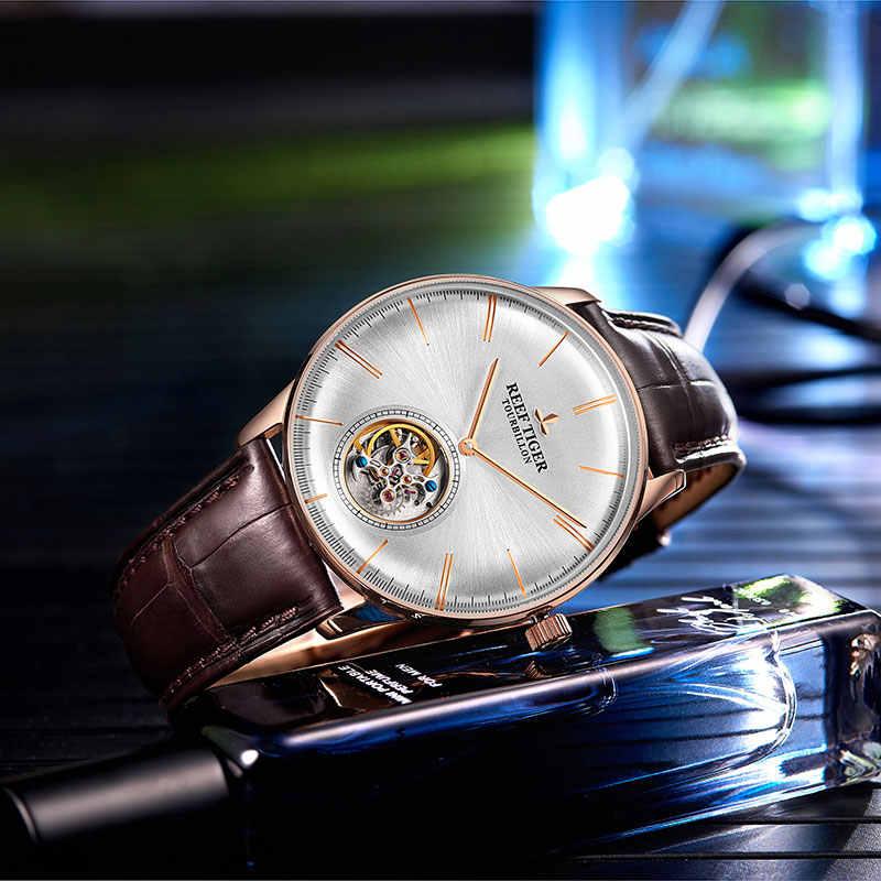 Reef Tijger/RT Mannen Luxe Merk Tourbillon Horloge Blauw Rose Goud Automatische Horloges Lederen Band relogio mannelijke RGA1930