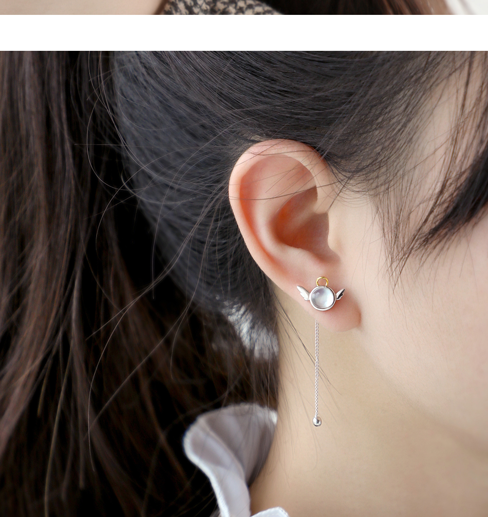 Thaya original angel design stud earrings s925 sterling silver wing crystal + shell long line earring for women ladies gift