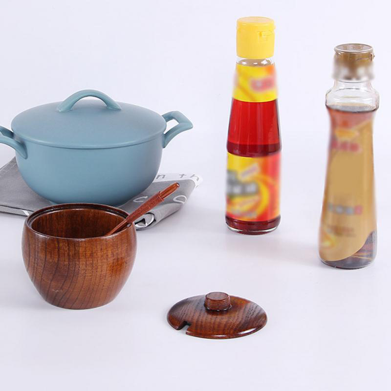 Wooden Seasoning Can Sugar Bowl With Lid Spoon Wood Spice Box Salt Container