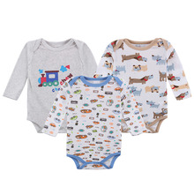 3 Pack Baby Boy Bodysuits with Long Sleeves 100% Cotton Soft Snap Buttons 0-12 Months