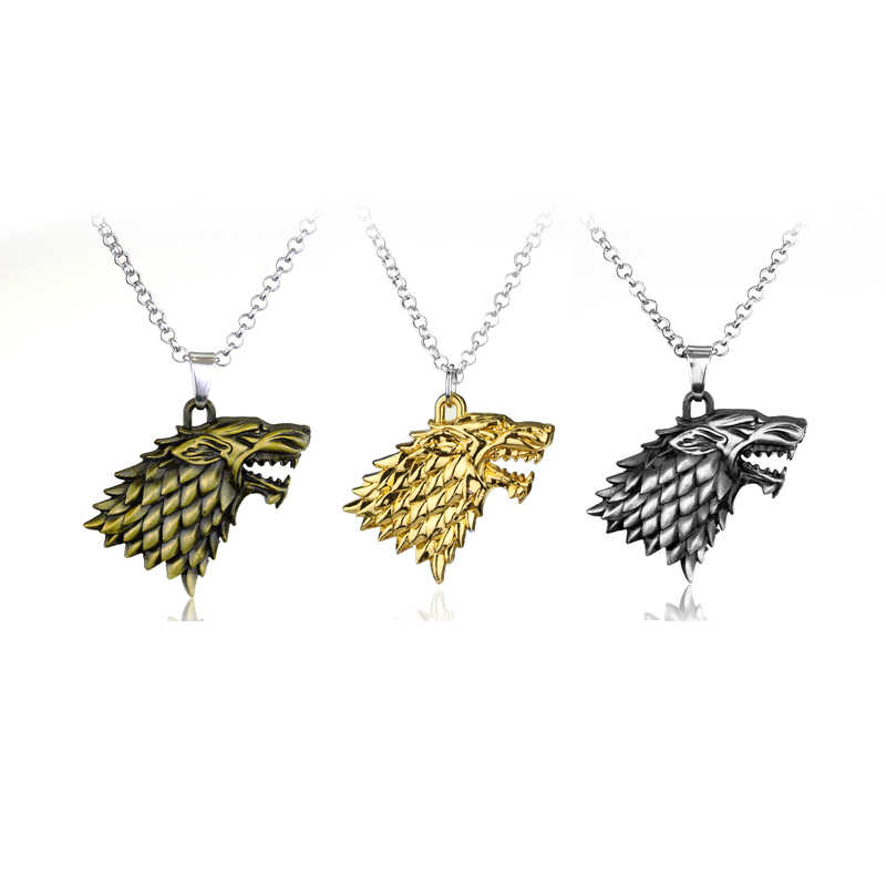 Hot TV Series Game Of Thrones Pendant Necklace Family Stark Wolf Head Logo Metal Statement Jewelry Gift For Man Women Fans