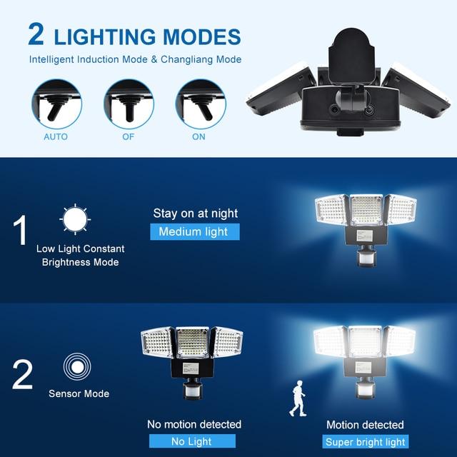 1000LM 188 LED Solar Light Motion Sensor Security Lamp Waterproof Three Head Outdoor Light For Entryways, Patio, Yard, Gardren 3